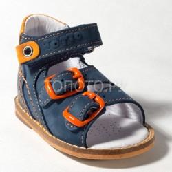 Сандалии на первый шаг Тотто 022 синие с оранжевым
