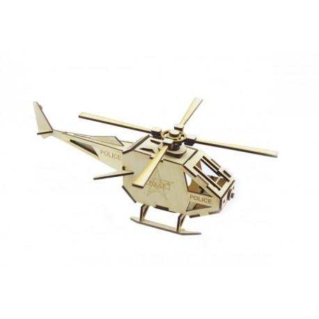 3D Конструктор деревянный Вертолет полиция LEMMO