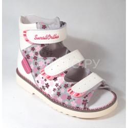Сандалии ортопедические Сурсил Орто 15-241 белые с розовым