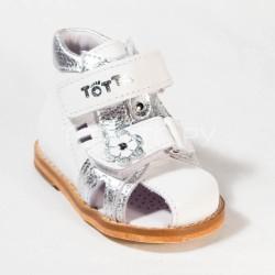 Сандалии на первый шаг Тотто 022 белые/серебро