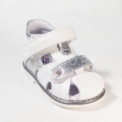 Сандалии закрытые на первый шаг Тотто 054 белый/серебро