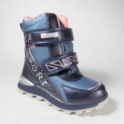 Ботинки Сказка зимние синие с розовым