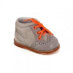 Ботинки на первый шаг Тотто 011 серобежевый/оранжевый